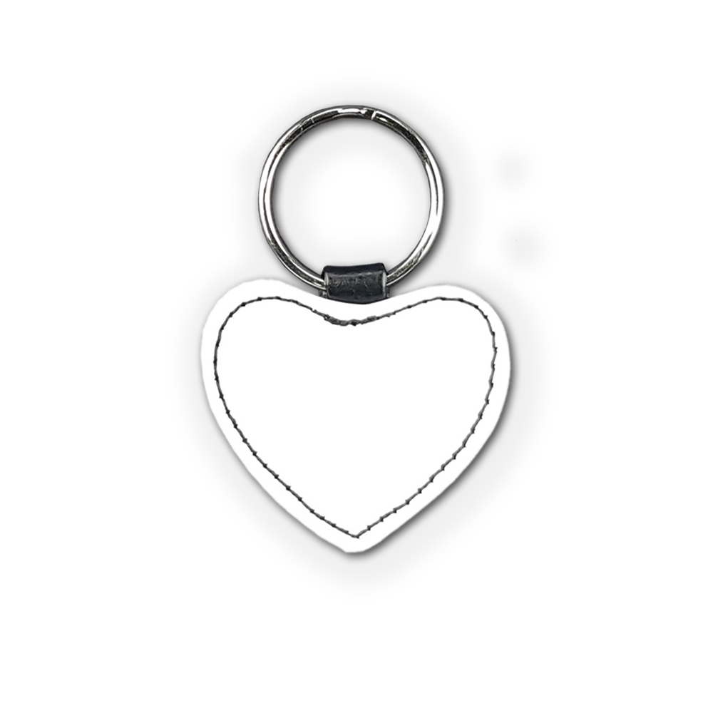 High quality faux leather heart shaped keyring with sublimatable front face and stylish stitching, comes complete with metal ring.