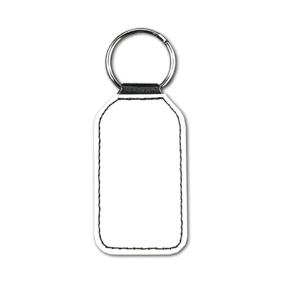 High quality faux leather rectangular keyring with sublimatable front face and stylish stitching, comes complete with metal ring.