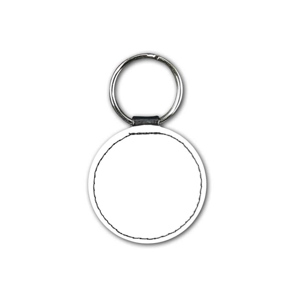 High quality faux leather circular keyring with sublimatable front face and stylish stitching, comes complete with metal ring.